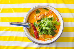 spicy soup with shrimp, Tom Yum soup, Tom Yum Goong, food of Thailand Royalty Free Stock Photo