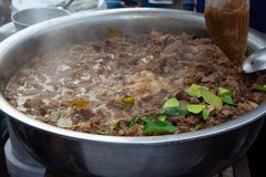 Spicy Soup with spicy cow guts. In Thailand stock photos