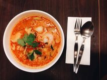 Spicy soup. Thai rice with spicy soup royalty free stock photography