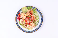 Spicy sour carp eggs of silver barb fish salad Stock Photography