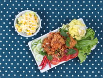 Spicy sour fried chicken salad (Yum Kai Zap in Thai). As spicy chicken salad,chili,tomato,red onion,roasted rice,dried chili ,Chinese cabbage,lettuce,peppermint Royalty Free Stock Image