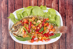 Spicy and sour fried Tilapia Salad with baby tamarind leaves . Stock Images