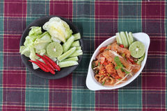 Spicy and sour mixed herb salad with pork skin and pork rind  se Royalty Free Stock Image
