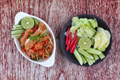 Spicy and sour mixed herb salad with pork skin and pork rind  se Royalty Free Stock Photo