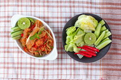 Spicy and sour mixed herb salad with pork skin and pork rind  served . Royalty Free Stock Photo