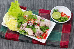 Spicy and sour mixed herb salad with squid wrap minced pork . Side view. Royalty Free Stock Images