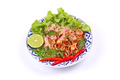 Spicy and sour mixed herb salad with tuna served . Royalty Free Stock Image