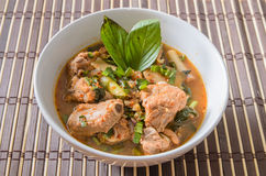 Spicy and Sour pork spare rib soup in thai style Stock Photo