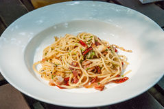 Spicy spaghetti bacon Royalty Free Stock Photo