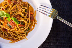 Spicy spaghetti closeup Stock Images