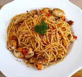 Spicy Spaghetti with Garlic Mushrooms Royalty Free Stock Images