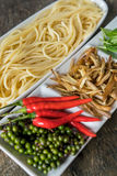 Spicy Spaghetti. Ingredient of spicy spaghetti cooking spicy spaghetti concept Royalty Free Stock Photo
