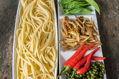 Spicy Spaghetti. Ingredient of spicy spaghetti cooking spicy spaghetti concept Stock Photography