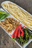 Spicy Spaghetti. Ingredient of spicy spaghetti cooking spicy spaghetti concept Royalty Free Stock Images