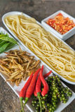 Spicy Spaghetti. Ingredient of spicy spaghetti cooking spicy spaghetti concept Stock Photos