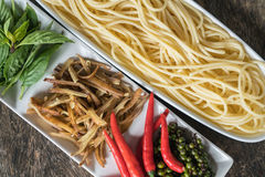 Spicy Spaghetti. Ingredient of spicy spaghetti cooking spicy spaghetti concept Royalty Free Stock Photos