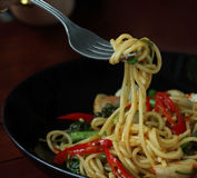 Spicy spaghetti with many kind of herbs Royalty Free Stock Photography
