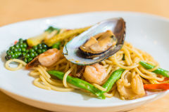 spicy spaghetti seafood Stock Photography