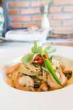 Spicy spaghetti seafood in white dish Royalty Free Stock Photos