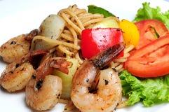 Spicy Spaghetti Shrimp Stock Images