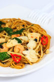 Spicy Spaghetti. Thai Spicy Spaghetti with Seafood Royalty Free Stock Photos