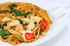 Spicy Spaghetti. Thai Spicy Spaghetti with Seafood Stock Photography