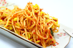 Spicy sprout. On plate with chopstick Stock Images