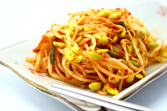 Spicy sprout. On plate with chopstick Royalty Free Stock Photos