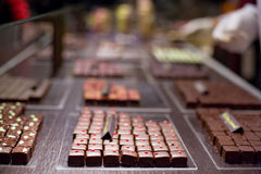 Spicy Squares of milk chocolate. Squared pieces  of chocolate on wooden table presentation Royalty Free Stock Photo