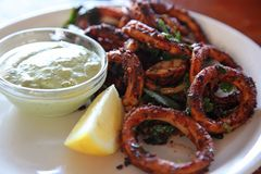 Spicy squid rings Royalty Free Stock Image
