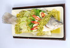 Spicy steamed fish Stock Photo