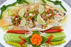 Spicy steamed fish Stock Photography