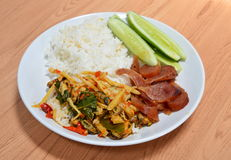 Spicy stir bamboo with mussel and fried Chinese sausage Stock Images