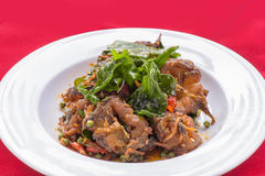 Spicy Stir-Fried Catfish. Catfish stir fried with thai curry Stock Photos