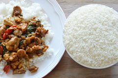 Spicy stir fried chicken with basil leaf on rice and paddy in bowl Stock Image