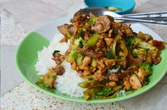 Spicy stir-fried chicken innards with basil leaves on rice Royalty Free Stock Photo