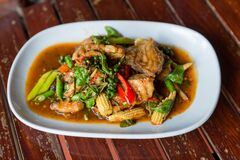 Free Spicy Stir-fried Fish With Pepper, Chili . Stir Fried Fish With Thai Herbs, Spicy Local Food, The Unique Spice Of Thai Food. Image Stock Photo - 196986870
