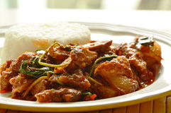 Spicy stir fried grilled pork curry with herb eat couple with rice on plate Stock Photos