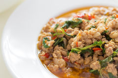 Spicy Stir Fried Minced Pork And Basil Stock Photography