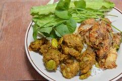 Spicy stir fried pork rib with parkia in curry royalty free stock photos