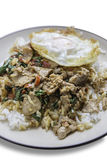 Spicy stir-fry beef with the holy basil topping with fried egg. Top view Stock Photos