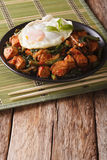 Spicy Stir-Fry Chicken with basil, green beans and a fried egg c Royalty Free Stock Images