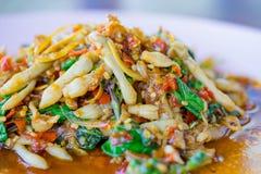 Spicy Stir-Fry. Razor clams spicy Stir-Fry Stock Photography