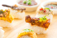 Spicy streaky pork sushi. Fusion food Stock Photo