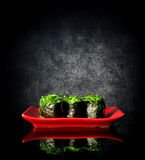 Spicy sushi on plate Royalty Free Stock Photo