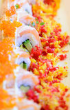 Spicy sushi salmon roll Royalty Free Stock Photos
