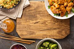 Spicy sweet and sour chicken with rice and cabbage Royalty Free Stock Images