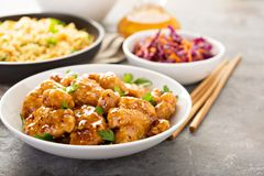 Spicy sweet and sour chicken with rice and cabbage Stock Photo