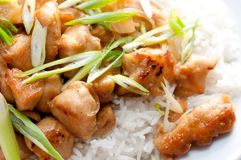 Orange chicken sauce with rice. Spicy and tangy chicken glazed with orange over white rice with onion Stock Photo