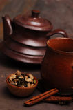 Spicy Tea. Spice tea with handmade clay pot Royalty Free Stock Photo